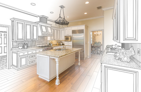 carpentry: Beautiful Custom Kitchen Design Drawing and Gradated Photo Combination. Stock Photo