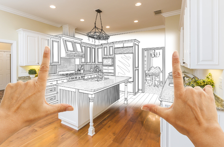 architectural rendering: Female Hands Framing Custom Kitchen Design Drawing and Square Photo Combination.