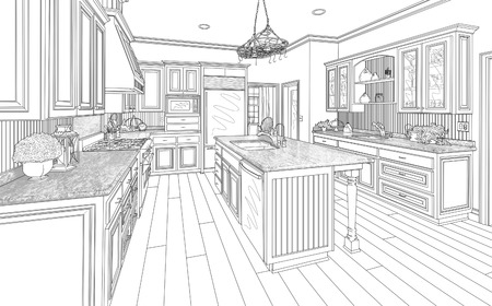 housing project: Beautiful Custom Kitchen Design Drawing in Black on White.