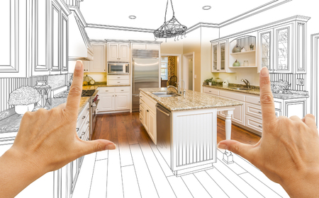 Female Hands Framing Custom Kitchen Design Drawing and Square Photo Combination. Фото со стока - 51038548