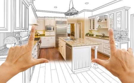 Weibliche Hände Rahmung Custom Kitchen Design Zeichnung und Square Foto Combination.