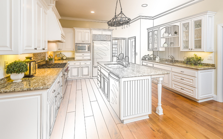 industrial kitchen: Beautiful Custom Kitchen Design Drawing and Gradated Photo Combination. Stock Photo