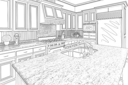cocinas industriales: Hermosa cocina personalizada Diseño Dibujo en Negro sobre blanco. Foto de archivo