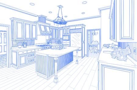 blue white kitchen: Beautiful Custom Kitchen Design Drawing in Blue on White. Stock Photo