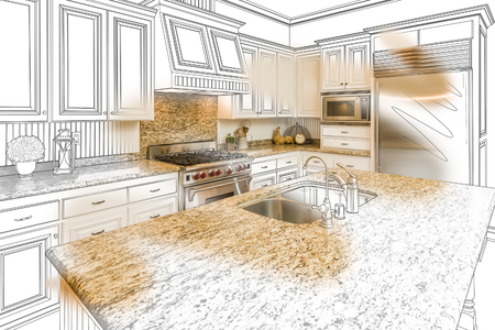 condo: Beautiful Custom Kitchen Design Drawing and Brushed In Photo Combination.