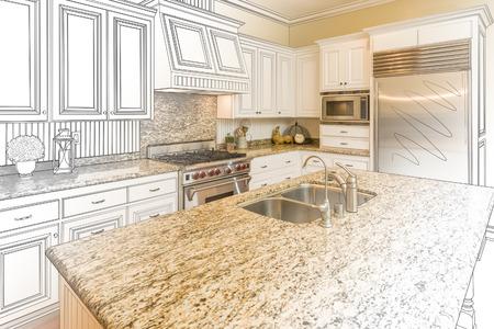 Beautiful Custom Kitchen Design Drawing and Gradated Photo Combination. Foto de archivo