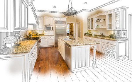 renovation property: Beautiful Custom Kitchen Design Drawing and Brushed In Photo Combination.