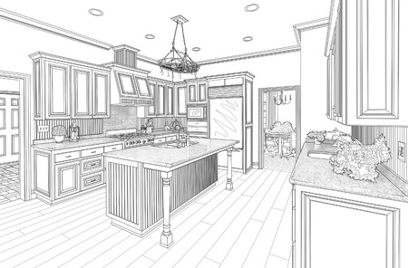 homes: Beautiful Custom Kitchen Design Drawing in Black on White.