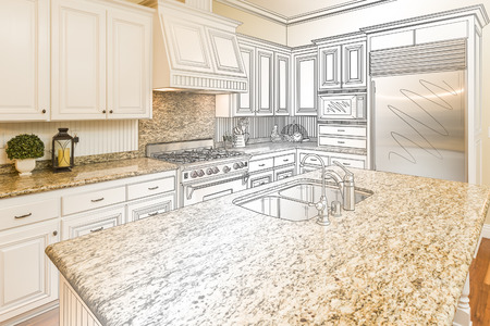 Beautiful Custom Kitchen Design Drawing and Gradated Photo Combination. Stock Photo