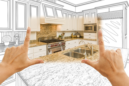 Female Hands Framing Custom Kitchen Design Drawing and Square Photo Combination. Zdjęcie Seryjne - 51038657