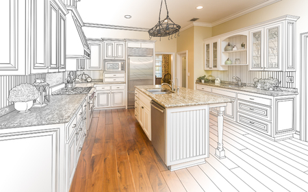 interior plan: Beautiful Custom Kitchen Design Drawing and Gradated Photo Combination. Stock Photo