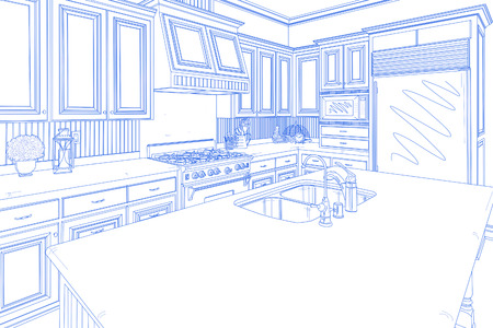 housing project: Beautiful Custom Kitchen Design Drawing in Blue on White. Stock Photo