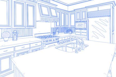 Hermosa cocina personalizada Diseño Dibujo en azul en blanco. Foto de archivo - 51179318