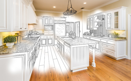 custom: Beautiful Custom Kitchen Design Drawing and Brushed In Photo Combination.