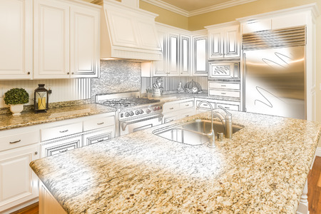 housing project: Beautiful Custom Kitchen Design Drawing and Brushed In Photo Combination.