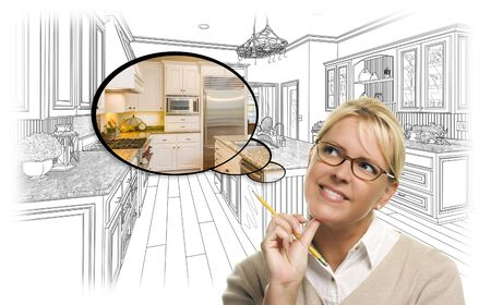 it girl: Creative Woman With Pencil Over Custom Kitchen Drawing and Thought Bubble Photo Combination.