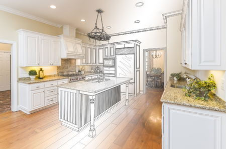 building blueprint: Beautiful Custom Kitchen Design Drawing and Gradated Photo Combination. Stock Photo