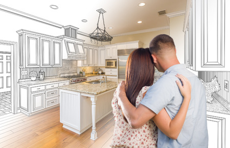 military draft: Young Military Couple Looking Inside Custom Kitchen and Design Drawing Combination.