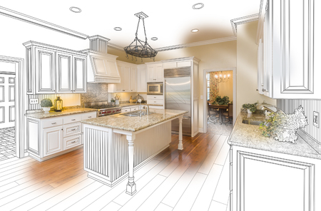 design drawing: Beautiful Custom Kitchen Design Drawing and Brushed In Photo Combination.