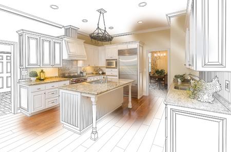 Hermosa cocina personalizada Diseño Dibujo y cepillado En las fotos de combinación. Foto de archivo - 51179347
