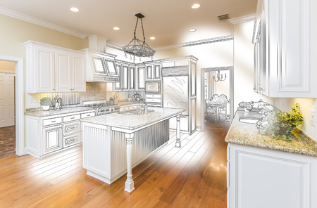 architect drawing: Beautiful Custom Kitchen Design Drawing and Brushed In Photo Combination.