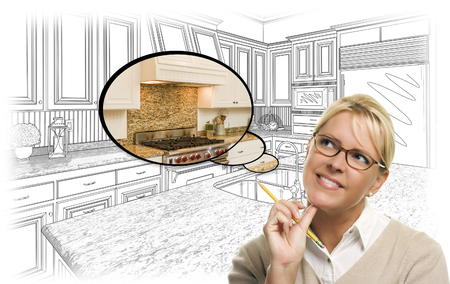 thinking: Creative Woman With Pencil Over Custom Kitchen Drawing and Thought Bubble Photo Combination.