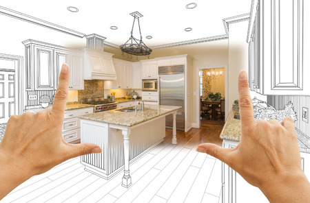 interior drawing: Female Hands Framing Custom Kitchen Design Drawing and Square Photo Combination.