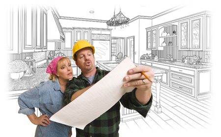 woman male: Male Contractor in Hard Hat Discussing Plans with Woman, Kitchen Drawing Behind.