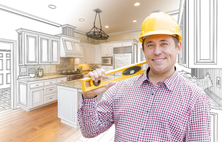 hard hat: Smiling Contractor in Hard Hat with Level Over Custom Kitchen Drawing and Photo Combination. Stock Photo