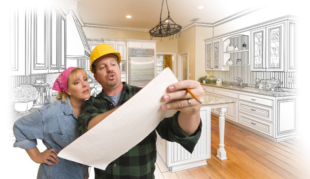 woman male: Male Contractor in Hard Hat Discussing Plans with Woman, Kitchen Drawing Photo Combination Behind. Stock Photo