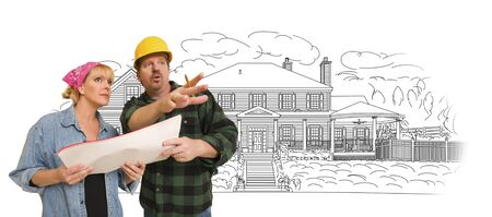 40s: Contractor Talking with Customer Over Custom Home Drawing. Stock Photo