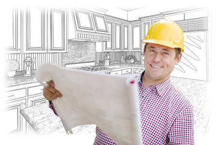 do it yourself: Smiling Contractor Holding Blueprints Over Custom Kitchen Drawing. Stock Photo