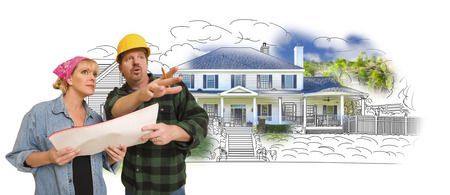 talking: Contractor Talking with Customer Over Custom Home Drawing and Photo Combination.