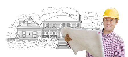 house construction: Smiling Contractor Holding Blueprints Over Custom Home Drawing