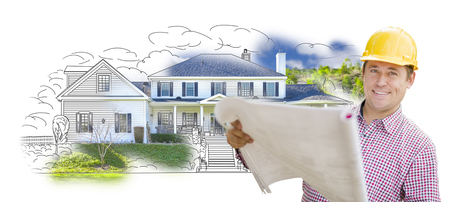 contractor: Smiling Contractor Holding Blueprints Over Custom Home Drawing and Photo Combination. Stock Photo