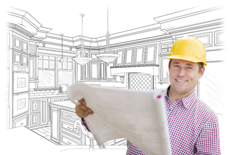 40s: Smiling Contractor Holding Blueprints Over Custom Kitchen Drawing. Stock Photo