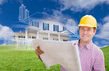 custom home: Smiling Contractor Holding Blueprints Over Custom Home Drawing and Photo Combination. Stock Photo