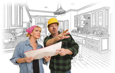 contractor: Contractor Talking with Customer Over Custom Kitchen Drawing.