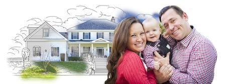 Giovane famiglia felice con il bambino sopra Casa disegno isolato su uno sfondo bianco.