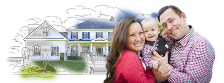 home owner: Happy Young Family With Baby Over House Drawing Isolated on a White Background. Stock Photo