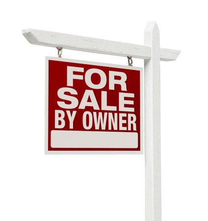 sale sign: For Sale By Owner Real Estate Sign Isolated on a White Background.