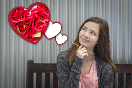 teenaged girls: Cute Daydreaming Girl Next To Floating Hearts with Red Roses.