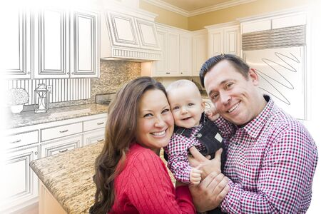 hoping: Happy Young Family Over Custom Kitchen Design Drawing and Photo Combination.