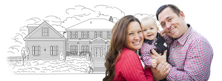 Happy Young Family With Baby Over House Drawing Isolated on a White Background. Archivio Fotografico