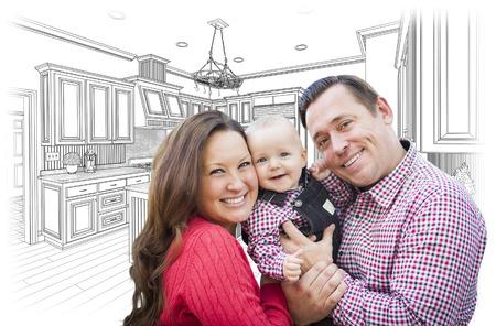 soñando: Familia Joven Feliz Con el encargo de la cocina y Dibujo Diseño.