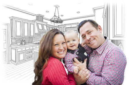 family with baby: Happy Young Family Over Custom Kitchen and Design Drawing.