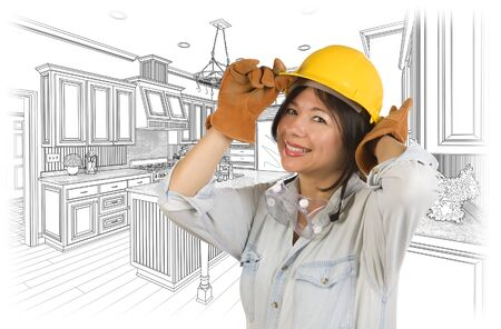latina: Pretty Hispanic Woman in Hard Hat and Gloves with Kitchen Drawing Behind.