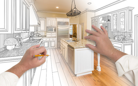 granite kitchen: Male Hands Sketching with Pencil A Custom Kitchen with Photo Showing Through. Stock Photo