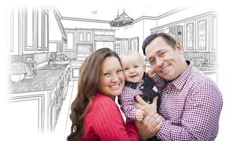 home remodel: Happy Young Family Over Custom Kitchen and Design Drawing.