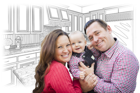 hoping: Happy Young Family Over Custom Kitchen and Design Drawing.
